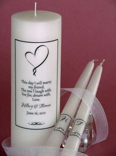 Quotes About Wedding & Love: Ribbon Heart Verse Personalized Wedding Unity Candle Set for your heart theme we Wedding Ceremony Ideas, Wedding Ceremonies, Wedding Events, Pond Wedding, Unity Ceremony, Wedding Rituals, Reception Ideas, Wedding Favors, Wedding Reception