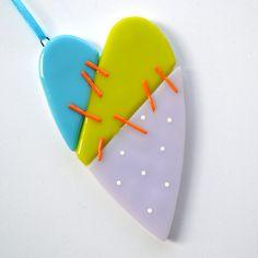 078 - Mended Heart, Fused Glass, Ornament, Valentine, Mauve, Aqua, Lime, Orange, CGGE