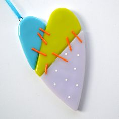 078  Mended Heart Fused Glass Ornament by nivenglassoriginals