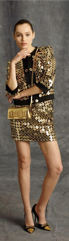 Moschino Gold Sequin Metallic Dress & Jacket #UNIQUE_WOMENS_FASHION