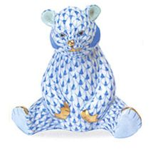 Herend Hand Painted Porcelain Figurine of Bear Sitting w Legs Splayed, Blue Fishnet w Gold Accents.