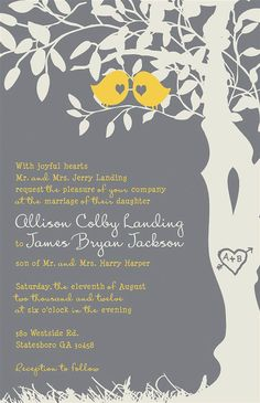The longer it takes James to design invitations, the more ideas I will make him look at!