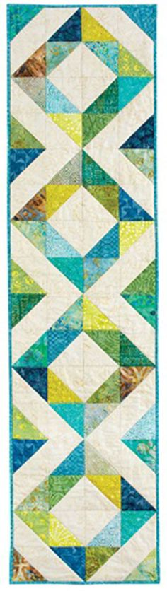 "Island Chain Table Runner Quilt By: Pam Biswas Finished Size: 16"" x 64"" Finished Blocks: 4 (16"")blocks"