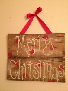 Merry Christmas sign - handpainted, polka dot. Ready to ship
