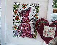 """Acrylic,pens. """"The Flower Picker"""" Rabbit with Frame Original 9 1/4 x 11 inch  £25"""