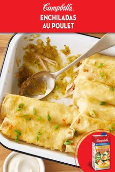 Broth replaces cream in this simple dish packed full of flavour that is sure to be a new family favourite. Enchilada Recipes, Meat Recipes, Mexican Food Recipes, Chicken Recipes, Dinner Recipes, Cooking Recipes, Slow Cooking, Cooking Bacon, Cooking Videos