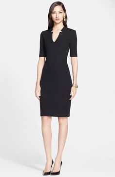 Free shipping and returns on St. John Collection Elbow Sleeve Milano Knit Dress at Nordstrom.com. An intriguing notched V-neckline refines a shapely sheath dress crafted from a dense, near-seasonless wool knit. Modest
