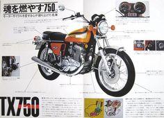 74年式 ヤマハ スポーツTX750 満を持して登場したTX750は、オートバイで初めてエンジンの振動を低減させるバランサー機構が採用されました。  ...
