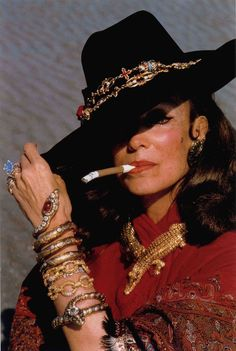Mexican film legend Maria Felix wearing her Cartier 'Crocodile' Necklace and the 41.37 carat (at the time; now weighs 40.45 carats after polishing in 1988) 'Ashoka' Diamond acquired from Harry Winston.