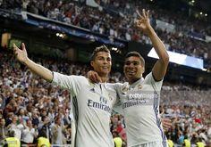 Cristiano Ronaldo of Real Madrid celebrates with Casemiro  realmadrid   football Thibaut Courtois 59a16a4c99f7b