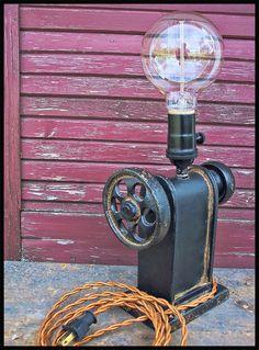 Industrial Iron Gear Lamp Steampunk Lamp Steampunk by Timberson Industrial Irons, Industrial Lighting, Industrial Style, Desk Light, Light Table, Steampunk Lamp, Unique Lamps, Desk Lamp, Lamp Table