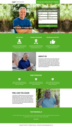 low testosterone products and treatments landing pages