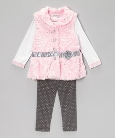 Take a look at this Pink Rose Sequin Faux Fur Vest Set - Toddler by Little Lass on #zulily today!