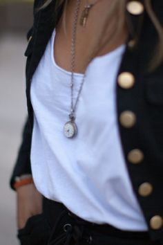 Love the pocket watch necklace & Big buttons