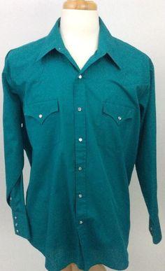 Sheplers Western Mens Pearl Snap Shirt Cowboy 17 1/5 - 34 Rodeo Teal HH17 #Sheplers #WesternPearlSnap
