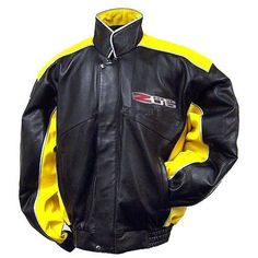 C6 Z06 Corvette Yellow Performance Lambskin Bomber Jacket