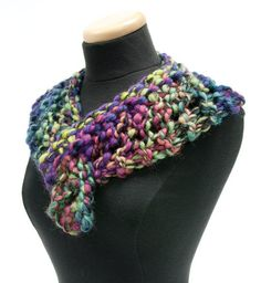 Follow this free knit pattern to create a scarf using Mary Maxim Mega yarn.