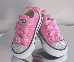 302a52cc74e77a Infant Custom Crystal Toes Backs and Fabric Bling Converse Toddler Swag
