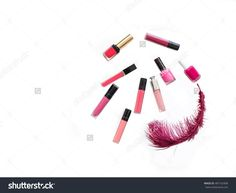Set Of Make Up Products Of Different Sizes And Shapes Isolated On White Top View. Colorful Lipsticks And Nail Polish Collection With Pink Feather Studio Shot. Stock Photo 487162408 : Shutterstock