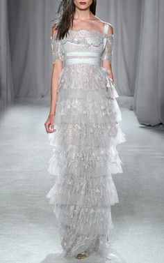 Tiered Metallic Lace Empire Waist Gown by Marchesa for Preorder on Moda Operandi