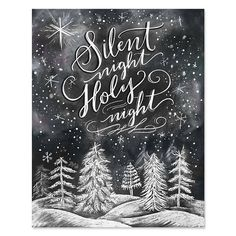 Silent Night, Holy Night - Print - Lily & Val – Silent Night, Holy Night – Print & Canvas – Winter Art – Illustrated Art – H - Chalkboard Drawings, Chalkboard Designs, Chalkboard Print, Chalkboard Ideas, Fall Chalkboard Art, Chalkboard Lettering, Christmas Signs, Christmas Crafts, Christmas Decorations