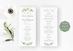 Olive Greenery Wedding Program Card Template, Printable Wedding Ceremony Program Instant Download, Pdf Editable #weddings #invitation #greenery #wedding #program #olive #rustic #allseasons #timeline #weddingpaper