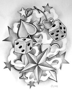 old school by themangaline diamonds hearts spades clover star dice cherry Tattoo Flash Art ~A.R.