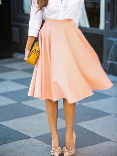 Peach Pink High Waist Midi Skater Skirt | Choies