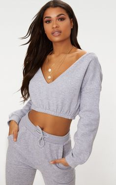 Grey Marl Crop Off Shoulder Sweater Take your look to next level this with this seriously co. # Fitness mujer Grey Marl Crop Off Shoulder Sweater Sweat Gris, Marled Sweater, Gray Sweater, Off Shoulder Sweater, Shoulder Tops, Cute Comfy Outfits, Loungewear Set, Lounge Wear, Fashion Outfits