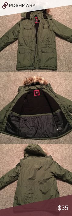 Men's Army Green parka New with tag not attached-never worn men's army/olive green parka with detachable fur hood.  Outer and inner pockets. Adjustable cinch inside of jacket and inner pocket. Water resistant. Swisstech Jackets & Coats