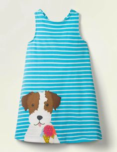 Jerseykleid Mit Applikation - Korsikablau/Weiß, Hund Boden Uk, Mini Boden, Blue Dresses, Girls Dresses, White Dogs, Dress Backs, 6 Years, Knit Dress, Kids Fashion