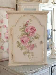 Shabby Chic Vintage Style Roses Cabinet by Debi Coules Price $475 www.debicoules.com