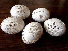 Set of 5 white Hand Decorated Madeira Painted Chicken Easter Egg with or without Ribbon, Drilled Traditional Slavic Wax Pinhead, Pysanka