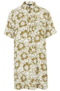 Hawaiian Print Shirt Dress