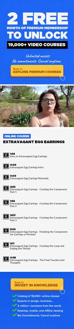 Extravagant Egg Earrings Crafts, Lifestyle, Sewing #onlinecourses #onlineprogramslearning #onlinecollegetips    In this class, you will learn to make the component for my Extravagant Earrings. My inspiration for this design comes from Faberge Eggs. Whether you choose to make earrings, a beaded bead, pendant or focal point from this project, using pastels and crystals make this project perfect for ...