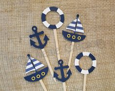 12 Nautical Cupcake Toppers - Anchor Cupcake Toppers - Sailboat Cupcake Toppers - Nautical Baby Shower Cupcake Toppers - Nautical Party