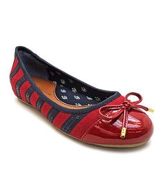 Take a look at this Navy & Red Stripe Alyssa Flat by Tommy Hilfiger on #zulily today!