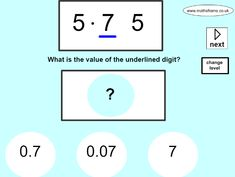 Choice of whole numbers and decimals. Integers, Place Values, Places, Lugares