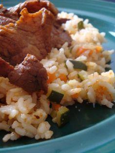 Cuisiner au rice cooker ... ou le riz coco et porc mariné par Angélique ou une gourmande qui doit se prendre en main!!!