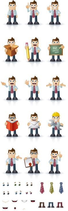 Impressive collection of 14 cartoon businessman characters. They are pretty funny and attractive. Of course, you are not limited to these 14 postures. There are