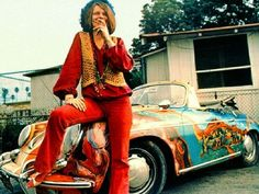 Janis Joplin with her Porsche - thought she wanted a benz...