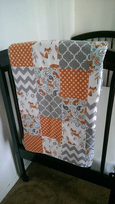 Baby boy fox patchwork minky blanket orange by CassisBabyCakes