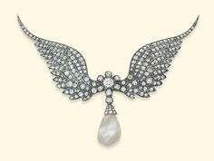 Circa 1890 - Natural pearl and diamond winged brooch - silver-topped gold, via Christie's London