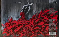 Intrinsic Wine Label panoramic shot of whole label. Street art with abstract woman in red dress