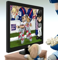 Sports Dolls and Figurines - Precious Moments Every Day Is A Touchdown With You Giants Figurine - detail Nfl New York Giants, My Giants, Watch Football, Nfl Football, 32 Nfl Teams, Go Big Blue, Rudolph The Red, I Love Ny, Red Nosed Reindeer