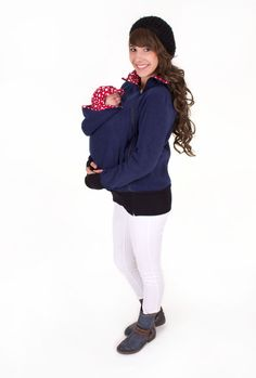Tragetücher & Mei Tai - 3-in-1 Fleece Tragejacke in marine rot-Sterne - ein Designerstück von AgnesH bei DaWanda