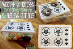 Pack 'N' Go Kitchen DIY Toy Stove Tutorial + Free SVG Cut Files (pay it fwd)