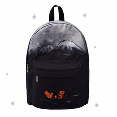 This striking backpack portrays the starry night sky over the mountains below which two woodland creatures are sharing a camp fire.  Made from strong polyester with an interior pocket for phones etc it is suitable for work, school, gym or your next camping trip.