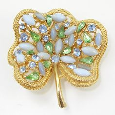 Vintage Jeweled Leaf Pin Signed Art