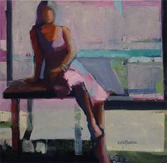 Melinda L. Cootsona - Melinda Cootsona Table in the Window an abstract figurative oil painting at Seager Gray Gallery in San Francisco CA in the San Francisco Bay Area.